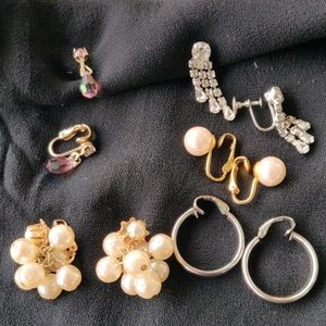 Clip on earrings, 5 pair in classic styles.